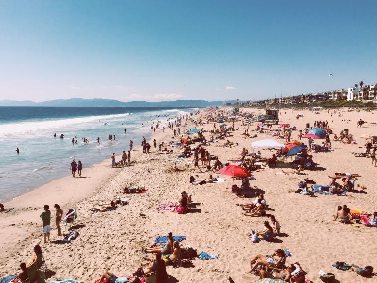 Crowded beach feels