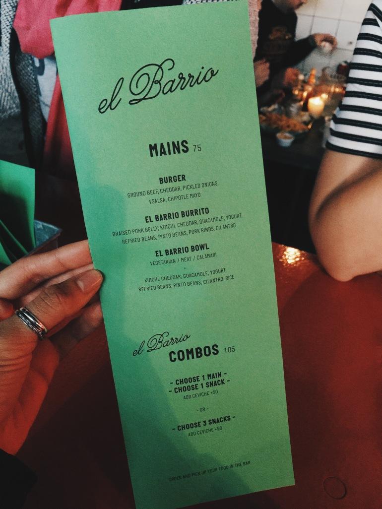 El Barrio menu