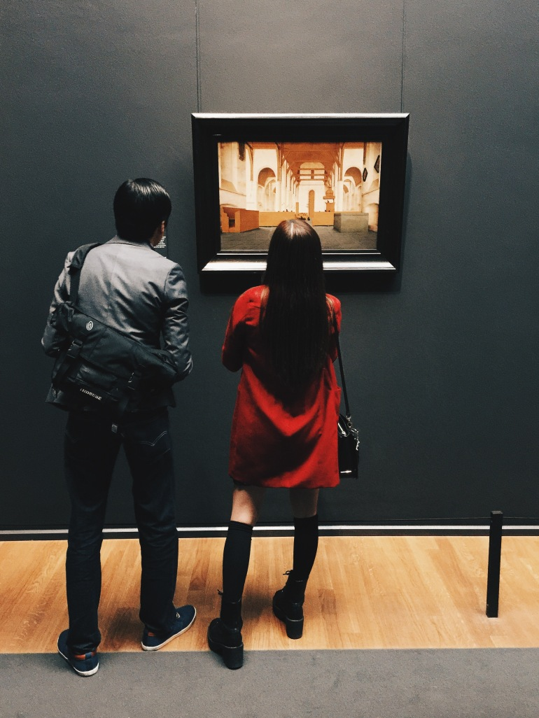 Peeps looking at art