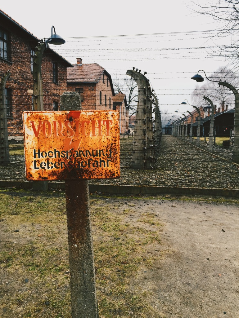 Auschwitz electric sign