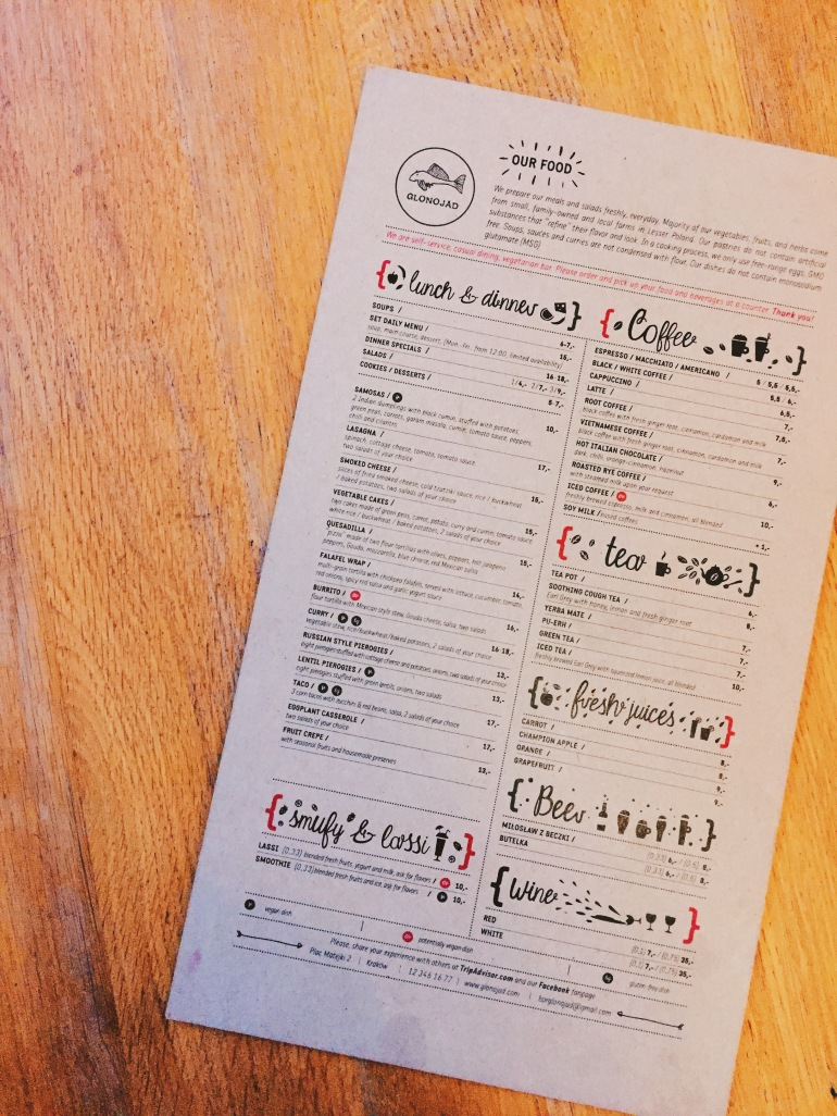 Glonojad menu