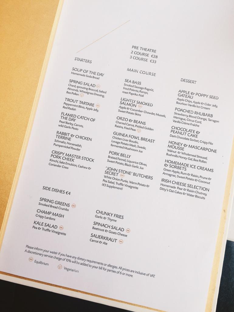 Dinner - menu
